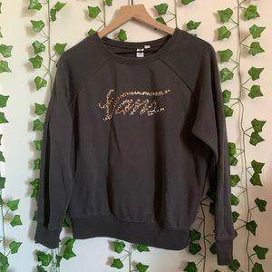 Vans Logo Leopard Print Charcoal Sweatshirt